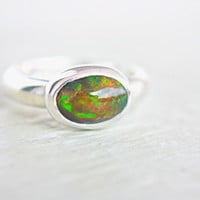 Opal Ring Sterling Silver Natural Ethiopian Welo Opal Ring Size 6-7 Silversmithed October Birthstone Ring