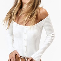 Lottie Moss Clarissa Button Off-The-Shoulder Top at PacSun.com