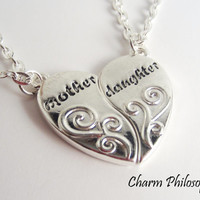 Mother Daughter Necklaces - Mother Daughter Jewelry - Silver Half Heart Necklaces - Mother's Day Gift - Friendship Necklaces