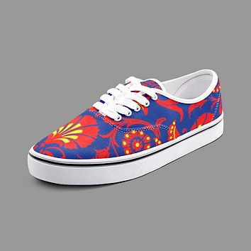 Wallpaper Damask Floral Unisex Canvas Shoes Fashion Low Cut Loafer Sneakers by The Photo Access