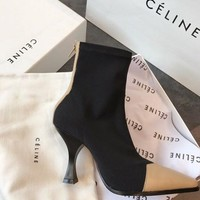 CÉLINE MADAME ANKLE BOOT IN CALFSKIN AND GROS GRAIN STRETCH