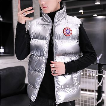 Hot style hot sale fashion zipper stand collar vest cotton vest