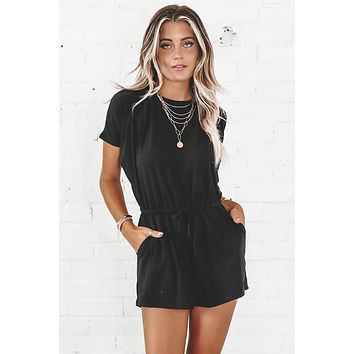 Listen To Your Heart Black Romper