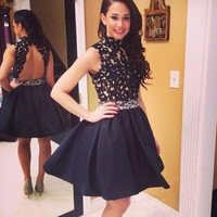Black Homecoming Dresses, High Neck Homecoming Dresses with Beadings