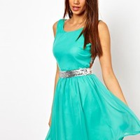 Paprika Chiffon Skater with Multi Sequin Straps at asos.com