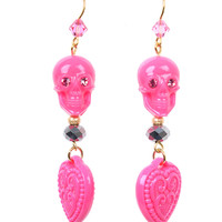 Tarina Tarantino Pink Dangle Skull & Heart Earrings