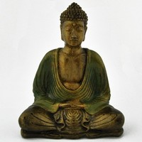 Dhyana Mudra Buddha Painted Resin Statue -- Mexicali Blues