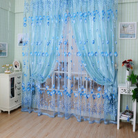 1M*2M Window Curtains Sheer Voile Tulle for Bedroom Living Room Balcony Kitchen Printed Tulip Pattern Sun-shading Curtain