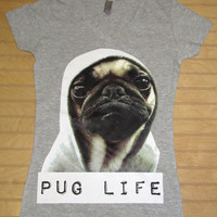 Women Fitted V Neck Tee Pug Life