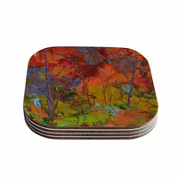"""Jeff Ferst """"Fall Colours"""" Red Painting Coasters (Set of 4)"""