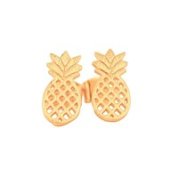 Gold Pineapple Earrings by Country Club Prep