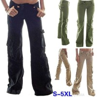 Big Side Pockets Women Long Bell-bottomed Pants