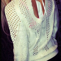White Backless Cut-out  Pullover Sweater