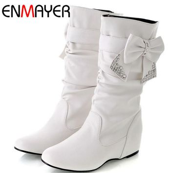 ENMAYER Big Size 34-44 Hot New Fashion Flat Boots Women Snow Boots and Slip-On Round Toe Women Winter Shoes Women Large Size
