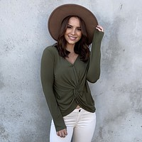 Ready To Go Twist Jersey Top in Olive