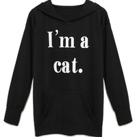 Black Letter Print Pocket Detail Cat Ear Hoodie