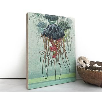 Jellyfish 8x10 Wood Art Block