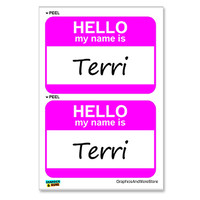 Terri Hello My Name Is - Sheet of 2 Stickers