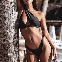 Sexy Swimsuit Female Patchwork Swimwear Women One Shoulder Bikini Set Bikinis Bathing Suit