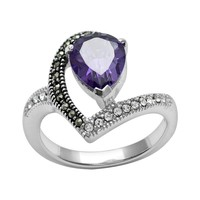 Silver Plated Simulated Crystal & Cubic Zirconia Ring
