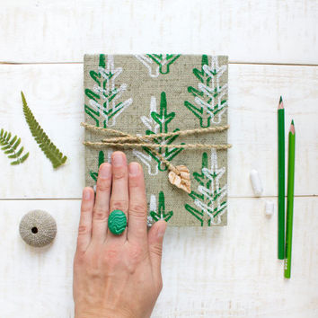 Pocket notebook, handmade journal with herbal pattern, green journal, handmade paper, gift ideas, unique, christmas gift
