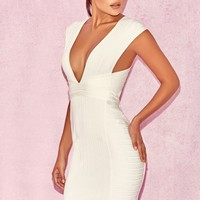 Alvarez White V Front Bandage Mini Dress