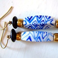 """If You Please Earrings for Women, 2"""" Drop, Hypo-A, Gift for Her, Handmade Jewelry on Etsy, Indigo Blue, Birthdays"""