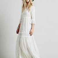 Free People Womens White Romance Embroidered Maxi