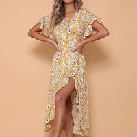 Sexy V Neck Print Wrap Long Dress Women Short Sleeves Ruffle Sashes Dress Casual Beach Dress