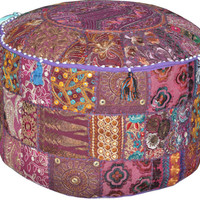 Purple Indian Bohemian Pouf Ottoman Stool Vintage Patchwork Living Room Ottoman pouf Hassock bench furniture pouffe footstool chair bean bag