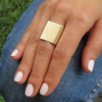 HuaYang Cool Style Punk Rock Cuboid Cube 3D Square Unisex Ring(Gold)