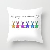 Happy Easter o2 Throw Pillow by Steffi ~ findsFUNDSTUECKE