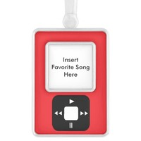 Red MP3 Player Ornament - Add Your Favorite Song! Silver Plated Framed Ornament