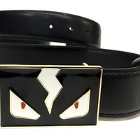 Fendi Belt | Size 38 or 95 cm | Black Leather | Black Buckle | Monster