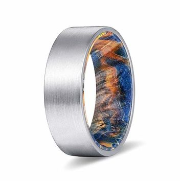 DIONOS Pipe Cut Tungsten Ring with Blue & Yellow box Elder Wood Sleeve 8mm