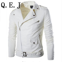 2015 fashion stand collar motorcycle leather clothing men's leather jacket male outerwear White Leather & Suede M-XXL Q.E.J