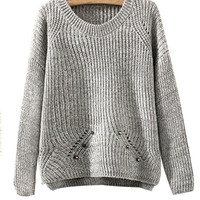 Grey Rivets Knit Sweater