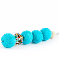 Large Beadwork Turquoise Blue Brooch Safety Pin Brooch Spring Fashion Mother Day Gift
