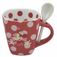 disney parks minnie red polka dot cocoa with spoon coffee mug new