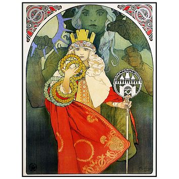 Sokol Festival Poster 1912 by Alphonse Mucha Counted Cross Stitch Pattern