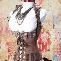Waist 25-27 Brown Striped Steampunk Wench and Cropped Vixen Set | damselinthisdress - Clothing on ArtFire