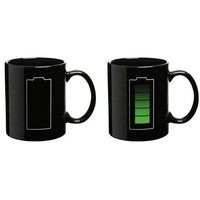 Econoled Tech Battery Color Changing Thermometer Heat Kruzhkus Mug Sensitive Porcelain Tea Coffee Cup (1, 10 Cup)