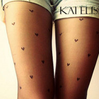 Black Heart Print Tights