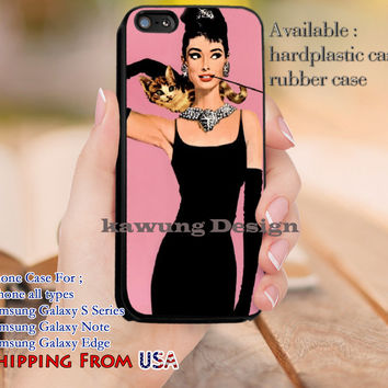 With Her Lovely Cat Audrey Hepburn iPhone 6s 6 6s+ 5c 5s Cases Samsung Galaxy s5 s6 Edge+ NOTE 5 4 3 #movie #actrees #adh dl11