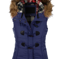 Navy Faux Fur Hooded Vest