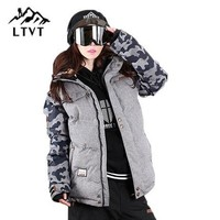LTVT Brand Ski Jacket Women Snowboarding jackets Warm Snow Coat Breathable Camouflage Waterproof Skiing Jackets Female
