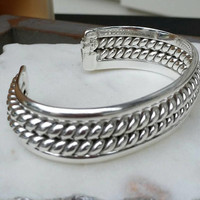 TAXCO Mexico Sterling Silver Double Twisted Rope Heavy Cuff Bracelet Signed TF-51 VIP, 63 Grams- Boho Chic / Art Deco / Southwest / Gift /