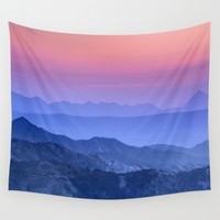 """""""Mountain dreams"""". At sunset. Wall Tapestry by Guido Montañés"""