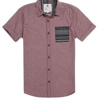 On The Byas Marcus Printed Pocket Short Sleeve Woven Shirt - Mens Shirt - Red -