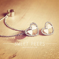 Heart and Bow Stud Ear Cuff Set